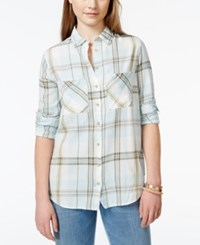 Polly And Esther Juniors' Plaid Button Front Shirt Blue Mint Plaid