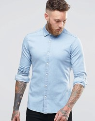 Asos Skinny Denim Shirt In Bleach Wash With Long Sleeves Bleach Wash Blue