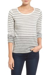 Petite Women's Vince Camuto Stripe Crewneck Sweater New Ivory