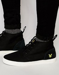 Lyle And Scott Lunan Hi Top Plimsolls In Twill Black