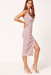 Missguided Pink Cross Strap Rib Midi Dress Mauve