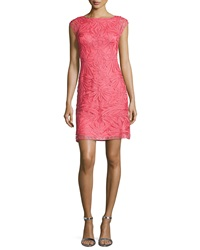 Sue Wong Cap Sleeve Embroidered Cocktail Dress Flame