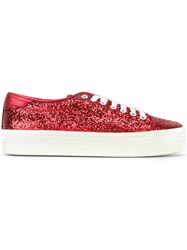 Saint Laurent 'Court Classic' Platform Sneakers Red