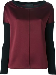 Cedric Charlier Cedric Charlier Two Tone Central Seam T Shirt Red