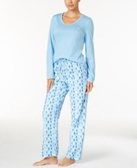 Nautica V Neck Knit Top And Flannel Pajama Pants Gift Set Blue Winter Wonderland
