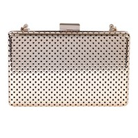 Karen Millen Perforated Metal Box Clutch Gold