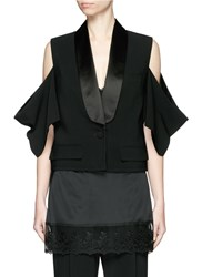 Givenchy Satin Shawl Lapel Cold Shoulder Jacket Black