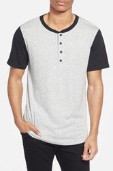 Alternative Apparel Cotton And Modal Baseball Henley T Shirt Gray