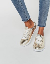 Missguided Gold Metallic Trainer Gold