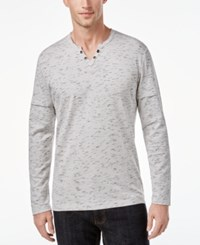 Inc International Concepts Men's Split Neck Layered Dash Print Shirt Only At Macy's Silver Stream