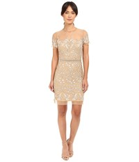 Nicole Miller Embroidered Tulle Short Sleeve Illusion Party Dress Gold Women's Dress