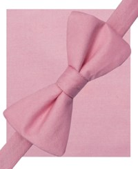 Alfani Spectrum Seasonal Solid Pre Tied Bow Tie And Pocket Square Set Only At Macy's Pink