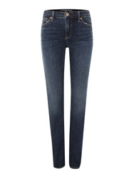 Lands' End Mid Rise Straight Leg Jeans Navy