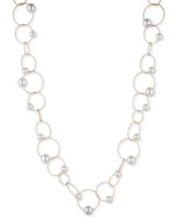 Anne Klein Gold Tone Imitation Pearl Fine Circle Link Collar Necklace