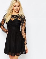 Missguided Lace Sleeve Prom Dress Black