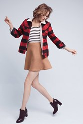 Anthropologie Levi's Plaid Sherpa Trucker Jacket Red Motif