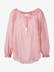 Zimmermann Roza Scoop Striped Swing Top Pink Red White