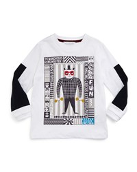 Little Marc Jacobs Long Sleeve Circus Poster Jersey Tee White