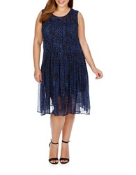 Lucky Brand Plus Plus Geo Printed Dress Blue