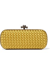 Bottega Veneta The Knot Watersnake Trimmed Intrecciato Satin Clutch Mustard