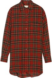 R 13 Oversized Plaid Wool Top Red