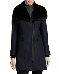 Via Spiga Asymmetric Zip Coat With Faux Fur Collar Midnight