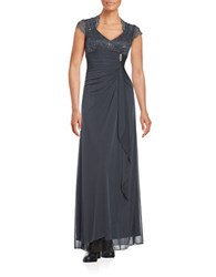 Betsy And Adam Cap Sleeved Lace Ruched Gown Charcoal