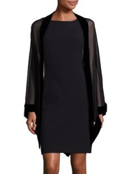 Harrison Morgan Velvet Trim Silk Stole Black