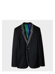 Paul Smith Men's Slim Fit Black Wool Blazer With White Piping Detail