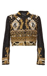 Dolce And Gabbana Baroque Gold Corded Evening Jacket Black Gold White