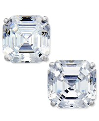 Arabella Swarovski Zirconia Asscher Stud Earrings In 14K White Gold Only At Macy's