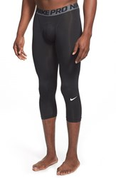 Men's Nike 'Pro Cool Compression' Four Way Stretch Dri Fit Three Quarter Tights Black Dark Grey White