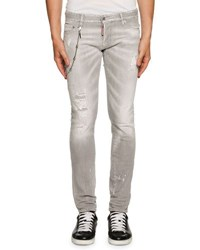 Dsquared Distressed Skinny Jeans W Removable Chain Gray