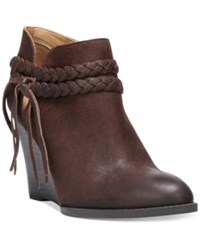 Franco Sarto Loni Braided Strap Wedge Booties Women's Shoes Dark Brown