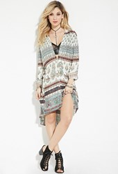 Forever 21 Raga Paisley Print Shirt Dress Turquoise Multi