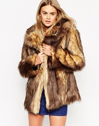 Asos Vintage Faux Fur Coat Brown