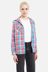 X Girl Plaid Hoodie Shirt Pink