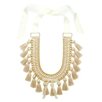 Margot And Me Crochet Necklace Mara In Nature Nude Neutrals White