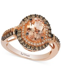 Le Vian Peach Morganite 1 1 5 Ct. T.W. And Diamond 1 2 Ct. T.W. Ring In 14K Rose Gold Pink