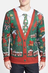 Men's Faux Real 'Ugly Christmas Cardigan' Long Sleeve T Shirt