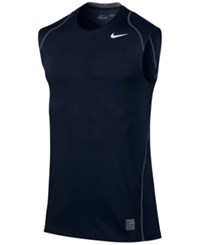 Nike Men's Pro Cool Dri Fit Fitted Sleeveless Shirt Obsidian White