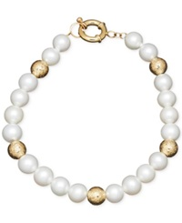 Honora Style Cultured Freshwater Pearl 7Mm And Bead Bracelet In 14K Gold White