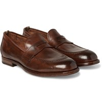 Officine Creative Ivy Polished Leather Penny Loafers Brown