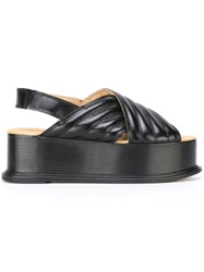 Maison Martin Margiela Mm6 Sling Back Platform Sandals Black