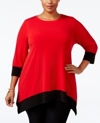 Calvin Klein Plus Size Colorblocked Handkerchief Hem Tunic Rouge Black
