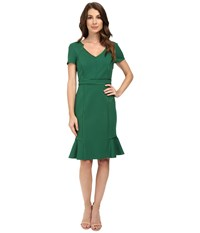 Nue By Shani V Neck Ponte Knit Dress With Side Flounce Forest Women's Dress Green