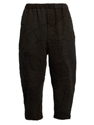 By Walid Patchwork Linen Cropped Trousers Black