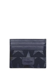 Valentino Leather Stars And Canvas Card Holder