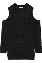 Rebecca Minkoff Page Cutout Metallic Open Knit Sweater Black