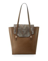 Neiman Marcus Mag Faux Leather Tote Bag Taupe